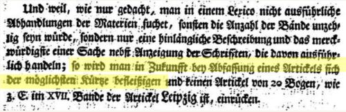 """quotation from the Universal Lexicon """"so wird man in Zukunfft bey Abfassung eines Artickels sich der möglichsten Kürze befleißigen"""""""